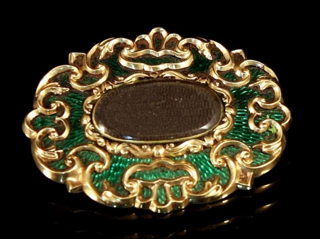 1860s Green Enamel Sentimental Brooch