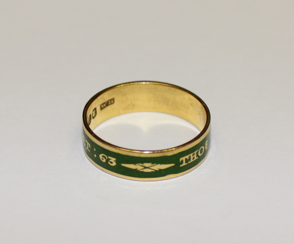 Green Enamel Mourning Ring 1803