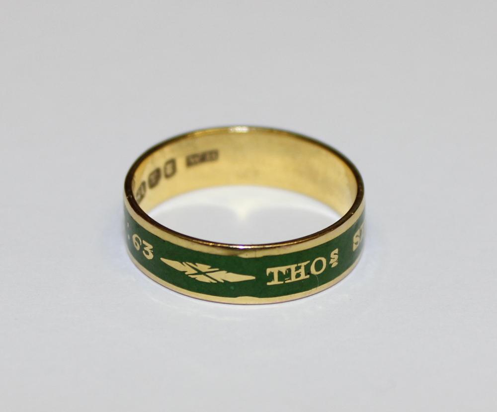 Green Enamel Mourning Ring 1803