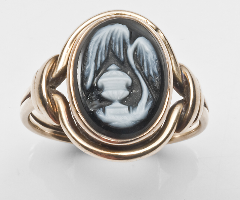 Onyx ring with willow and urn