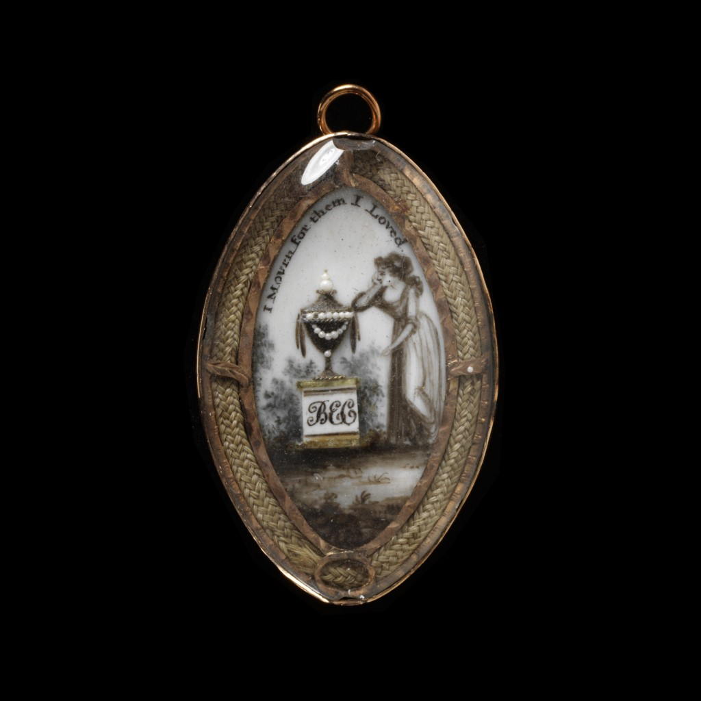 Enamelled gold, ivory and watercolour under glass, mourning pin navette