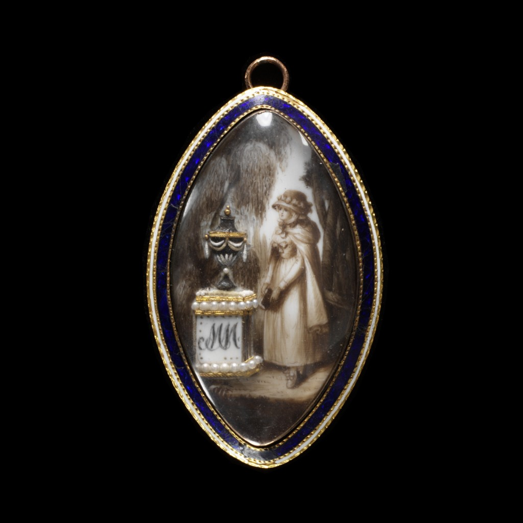 Engraved gold with enamel, ivory painted in watercolour with a miniature, gold wire and pearls Neoclassical Mourning Pendant