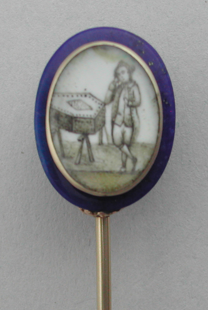 Mourning Stickpin With Coffin and Male, c.1780