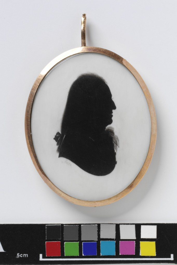 Silhouette portrait of an unknown man, watercolour on ivory.