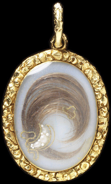 Gold, cast and chased shellwork and floral frame enclosing a silhouette of a gentleman painted in watercolour on ivory by John Miers; mounted on the reverse with a curl of hair bound with gold thread and pearls
