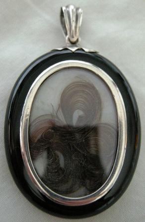 Victorian Locket Pendant Silver Enamel Monogram