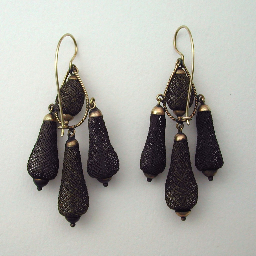 Hairwork Earrings, c.1870