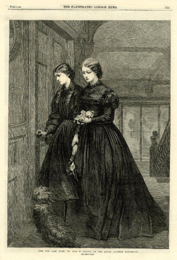 Two young women holding flowers stand outside a closed door, one holds the doorknob as if about to enter the room; from the 'Illustrated London News', 11 June 1864, p.565. 1864