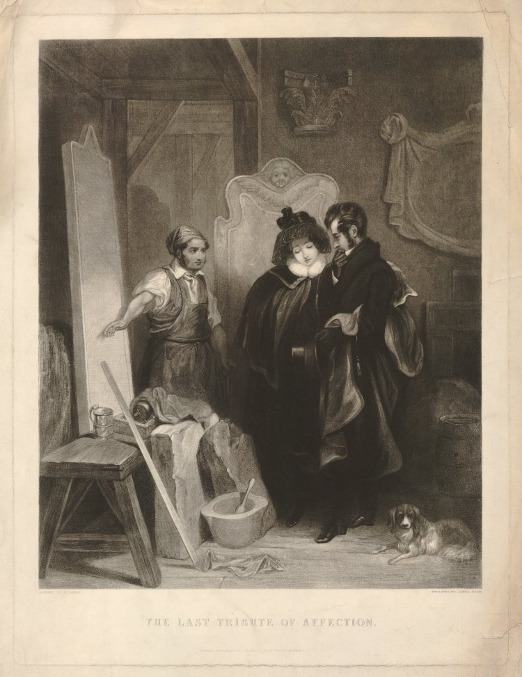 A young couple in mourning dress, looking sorrowful as they discuss the inscription to be engraved on a tombstone; the stonemason stands on the left, gesturing at it; after Jones.