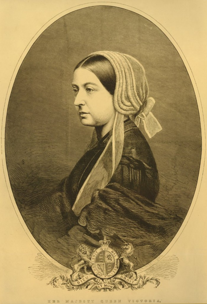 Queen Victoria in mourning, half length directed to left, almost in profile; in widow's outfit, with white crepe cap; in oval; with Royal Coat of Arms at bottom.