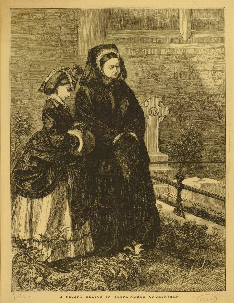 Portrait of Queen Victoria with a Royal Princess standing in churchyard; both dressed in mourning, the Queen holds handkerchief and wears veil; the Princess with hat and muff; standing next to grave of Prince John, son of Prince of Wales; illustration from unknown publication (1872). Wood engraving