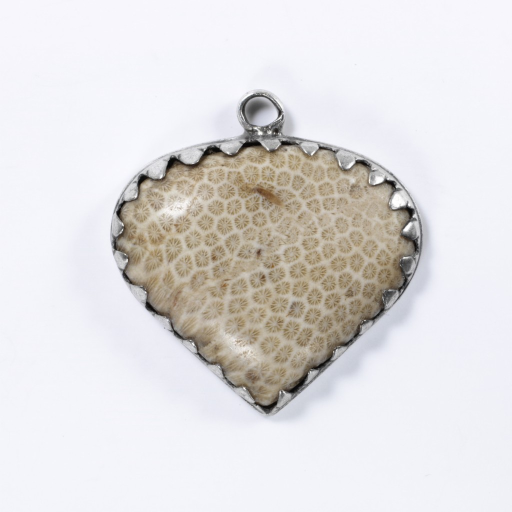 c.1800, Made In Traunstein, Germany. Fossilised Coral Mounted in Silver