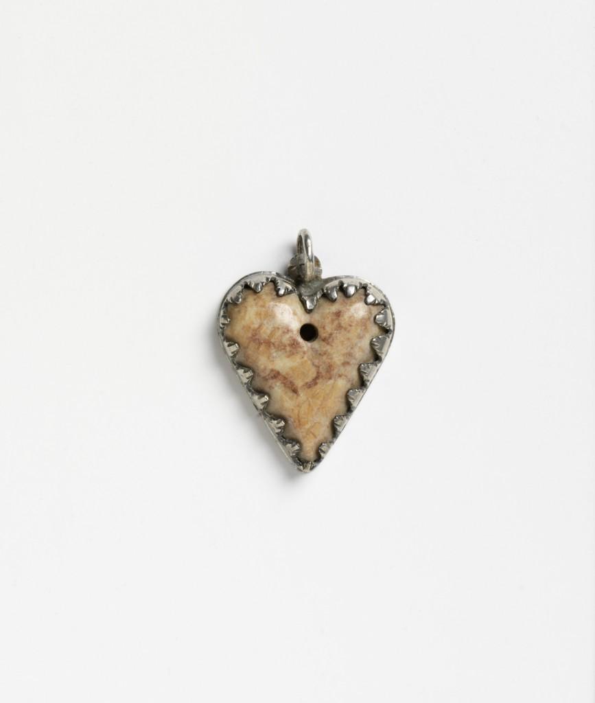 Pink-Veined Stone, Silver Mount, Wein, Austria, 18th Century, Heart Pendant