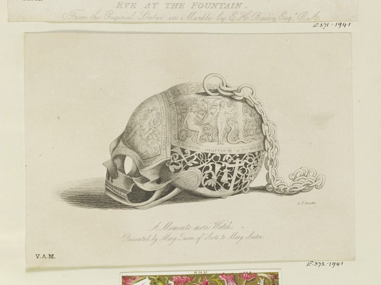 Engraving of a skull-shaped memento mori watch associated with Mary Queen of Scots, engraved with figures of Death and Adam and Eve