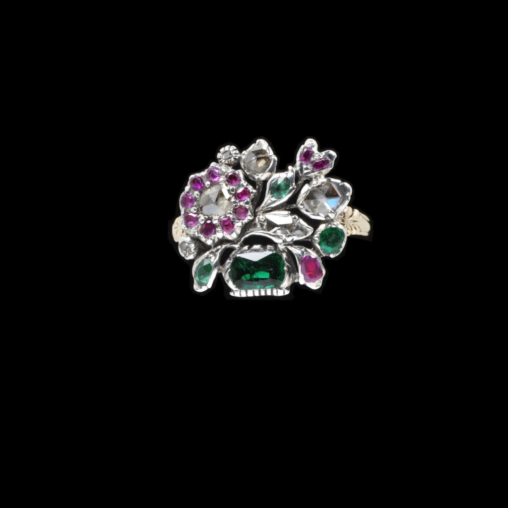 Giardinetti Ring, Gold and silver, set with rose-cut diamonds, rubies and emeralds