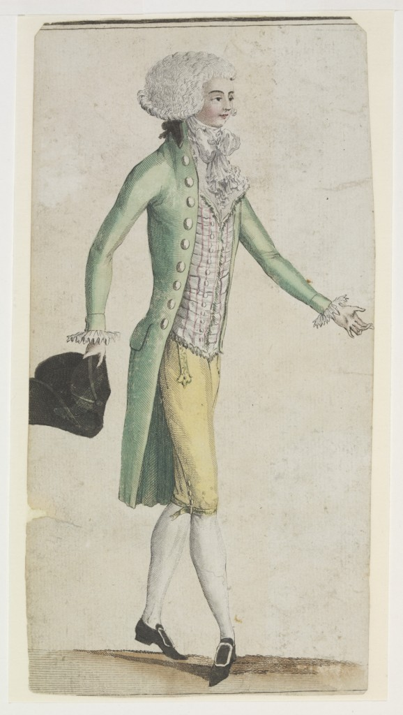 c.1780s French hand-coloured engraving on paper. Fashion plate