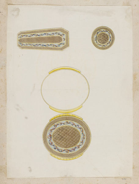In about 1790, the goldsmith, Jean Ducrollay (1710-1787) designed these three designs for a mourning set consisting of a miniature case for attachment to a ribbon, a coffin-shaped snuffbox, and a small circular box.  The designs are from an album of designs that date from about 1735-1820 and includes those for snuff boxes, scent holders, watches and watch cases, spoons, fans and fan mounts, small swords, and chatelaines (ornamental chains, pins, or clasps usually worn at a woman's waist, to which trinkets, keys, purses, or other articles are attached).  There is a close relationship between the contents of the album and known work by three Parisian goldsmiths, Ducrollay, Pierre- François Drais (active 1761-1788), and Charles Ouizille (1744-1830) whose names appear on the first page of the album. This suggests that all the designs emanate from their workshops. Drais worked for the Court at Versailles as jeweller to both King Louis XV and Louis XVI. Ouizille worked in this capacity for Louis XVI. Most of the material dates from the period 1755-90.