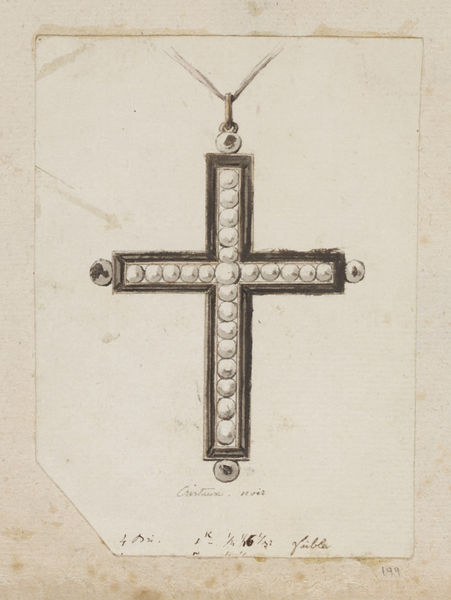Design for a pendant cross by an anonymous designer in about 1780 possibly for an elite client of the Court of Louis XVI, King of France from 1774 until 1791, at Versailles, Paris. The design is inscribed 'Cristaux. noir' which means 'black crystal' and with carat weights. The fact that the cross was intended to be decorated in black crystal indicates that it was almost certainly a mourning cross to be worn during the period of ritual observation accompanying a death.  The drawing is from an album of designs, which date from about 1735-1820, and includes those for snuffboxes, scent holders, watches and watch cases, spoons, fans and fan mounts, small swords, and chatelaines (ornamental chains, pins, or clasps usually worn at a woman's waist, to which trinkets, keys, purses, or other articles are attached).  There is a close relationship between the contents of the album and known work by three Parisian goldsmiths, Jean Ducrollay (1710-1787), Pierre- François Drais (active 1761-1788), and Charles Ouizille (1744-1830) whose names appear on the first page of the album. This suggests that all the designs emanate from their workshops. Drais worked for the Court at Versailles as jeweller to both King Louis XV and Louis XVI. Ouizille worked in this capacity for Louis XVI. Most of the material dates from the period 1755-90.