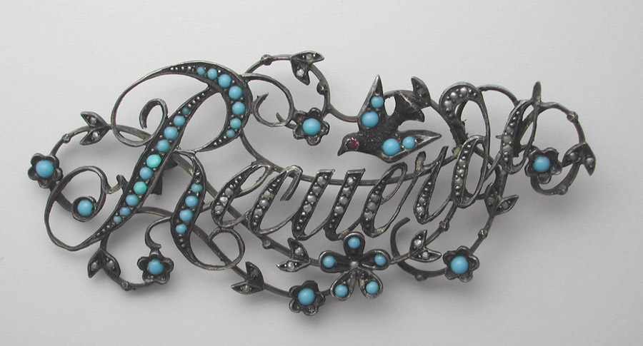 """""""Recuerd"""" Brooch with Turquoise, Doves and Forget-Me-Nots"""