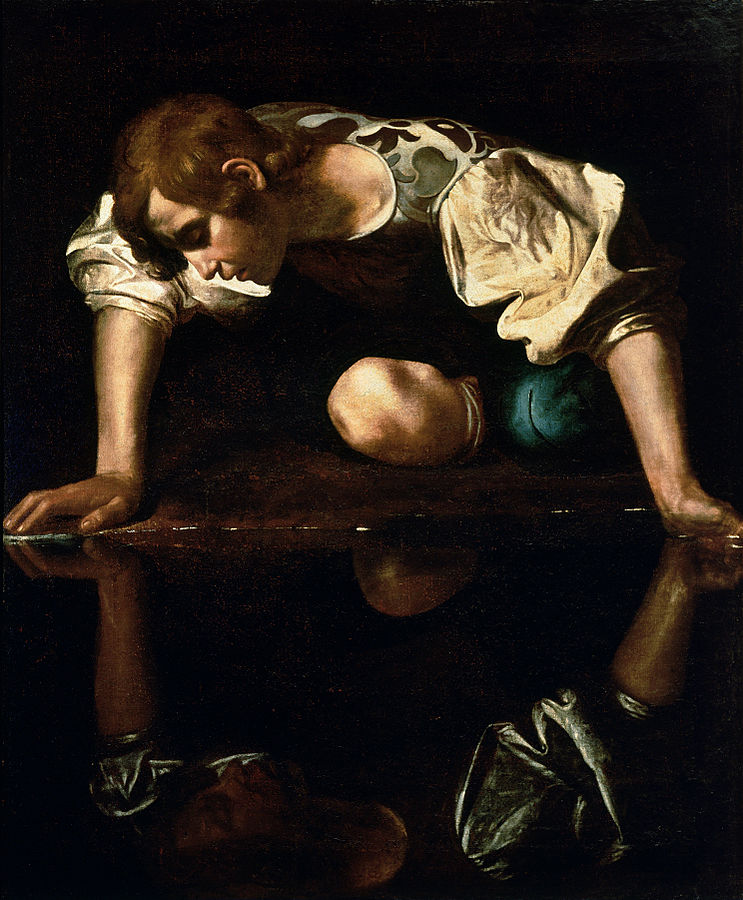 """Narcissus-Caravaggio (1594-96) edited"" by Caravaggio - scan. Licensed under Public domain via Wikimedia Commons - http://commons.wikimedia.org/wiki/File:Narcissus-Caravaggio_(1594-96)_edited.jpg#mediaviewer/File:Narcissus-Caravaggio_(1594-96)_edited.jpg"