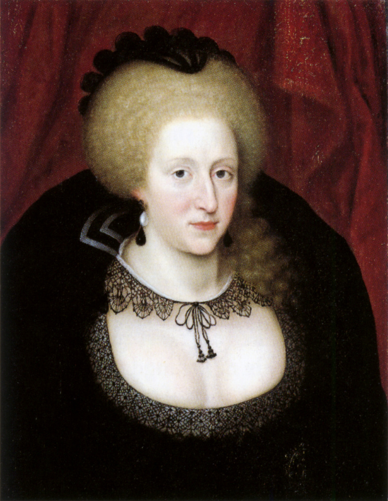 """Anne of Denmark in mourning"" by Marcus Gheeraerts the Younger - Scanned from the book The National Portrait Gallery History of the Kings and Queens of England by David Williamson, ISBN 1855142287.. Licensed under Public domain via Wikimedia Commons - http://commons.wikimedia.org/wiki/File:Anne_of_Denmark_in_mourning.jpg#mediaviewer/File:Anne_of_Denmark_in_mourning.jpg"