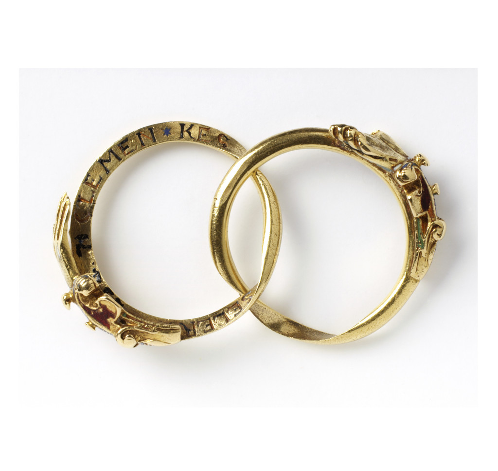 Around the inside of the hoop is the inscription in German 'CLEMEN KESSELER DEN 25 AUG AD 1607' (Clement Kesseler, 25th of August 1607). This suggests that the ring was made and worn to commemorate a special occasion such as a wedding.
