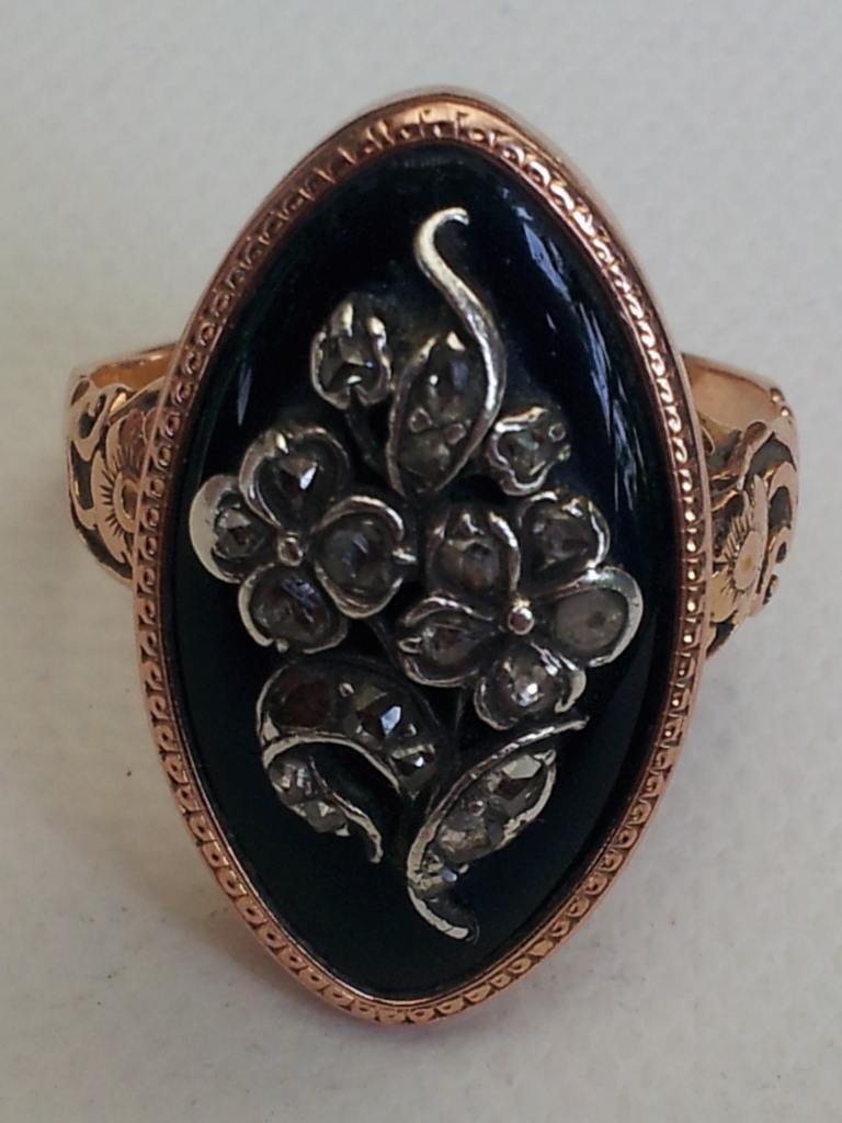 forget-me-not ring, sentimental, blue enamel, cobalt, diamond, rose
