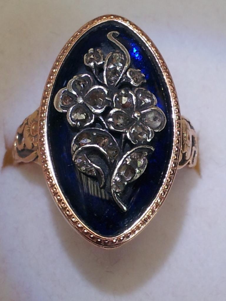 forget-me-not ring, sentimental, blue enamel, cobalt, diamond, rose