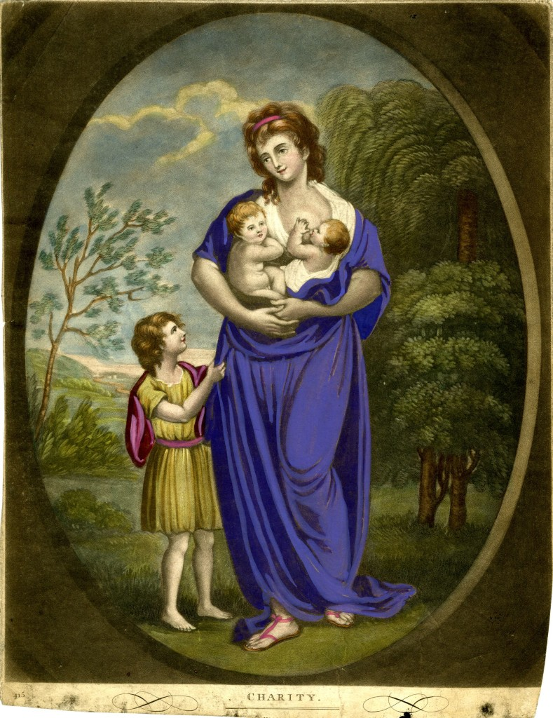 Allegorical female figure, shown full-length standing with two infants in her arms, one suckling, looking down to left at a little boy standing beside her; landscape with a large tree in the background; in an oval frame; from a set of Faith, Hope and Charity. 4 April 1798 Hand-coloured mezzotint with some etching