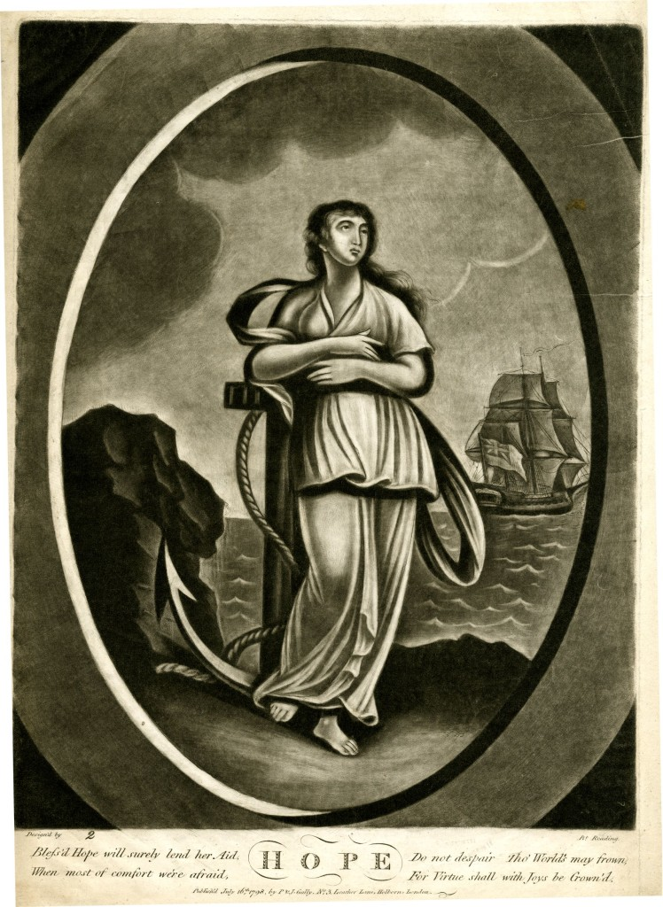 Allegorical female figure, shown full-length standing on a sea-shore, leaning on an anchor, looking up to right; rocks to left and a ship flying the Union Jack in the background; in an oval frame; from a set of Faith, Hope and Charity; re-issued state with number added and reworked. 16 July 1798 Mezzotint with some etching