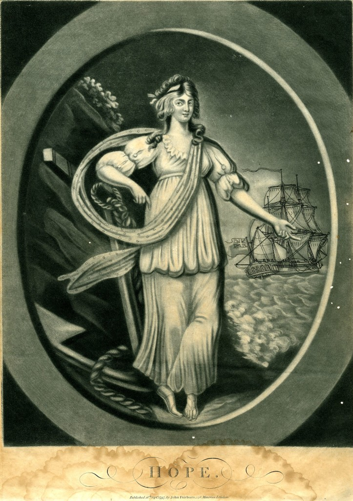 Allegorical female figure, shown full-length standing on a sea-shore, leaning on an anchor and gesturing out to right, a spotted scarf looped around her; a ship flying the Union Jack in the background to right; in an oval frame; from a set of Faith, Hope and Charity. 16 September 1797 Mezzotint with some etching, printed in blue-grey ink