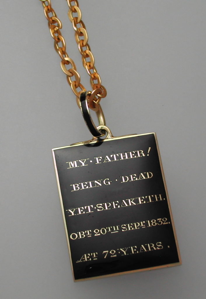 """My Father, Being Dead Yet Speaketh,"" relates to the passage in the Old Testament, Hebrews 11:4, which says, ""By faith Abel offered to God a more acceptable sacrifice than Cain, through which he was commended as righteous, God commending him by accepting his gifts. And through his faith, though he died, he still speaks."" 1832 Pendant Black Enamel"