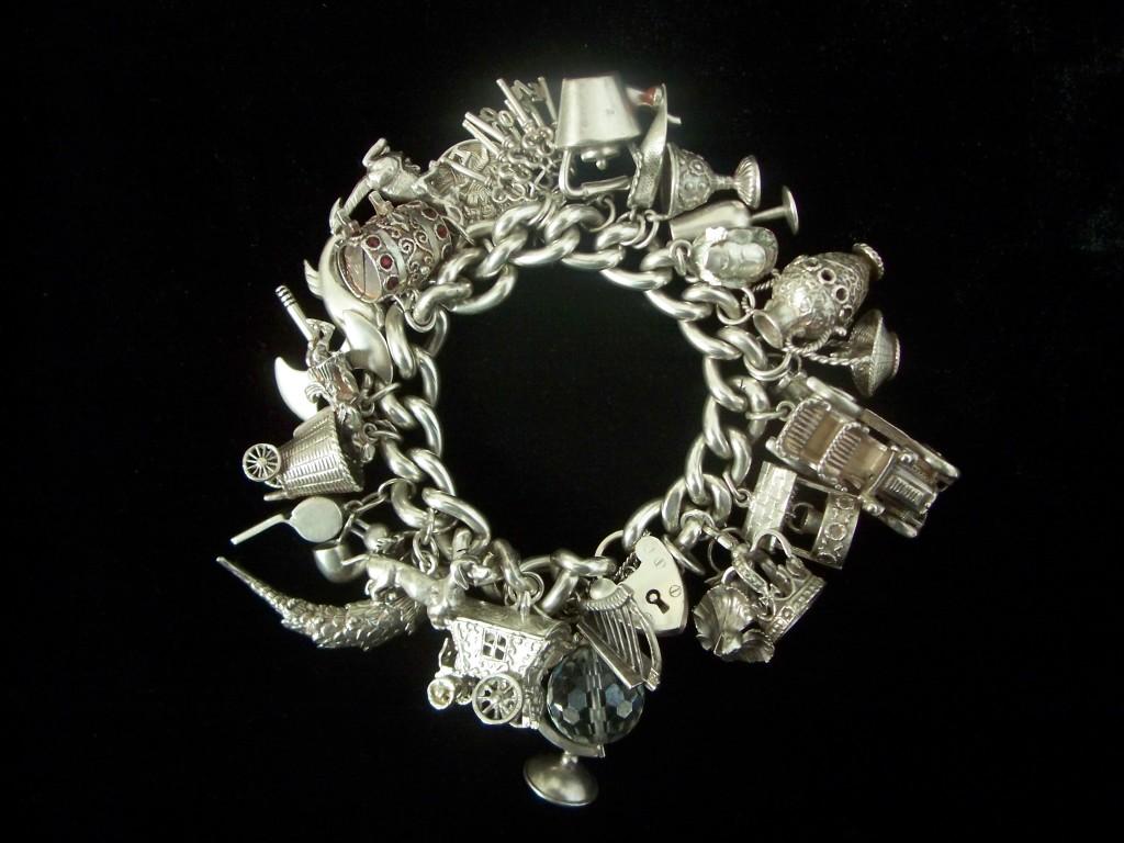 20th century charm bracelet in silver