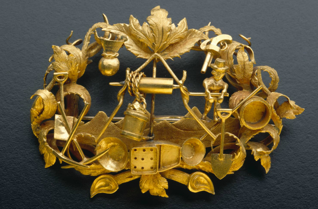 Goldfields brooch with foliate design, 1855 - 1865