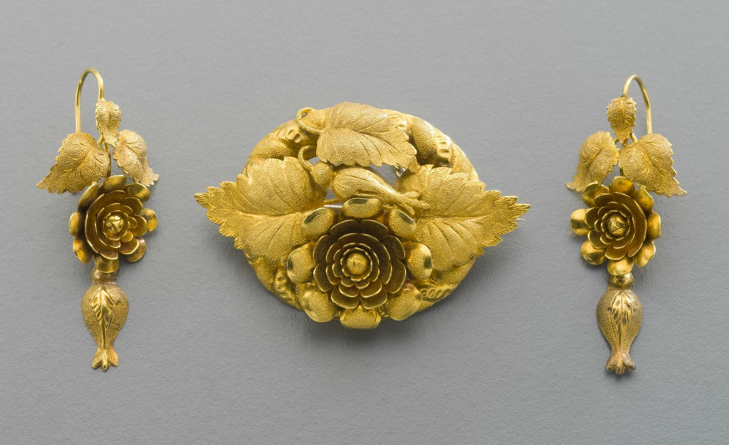 J. Wendt, demi-parure (brooch and earrings), 1860 - 1870