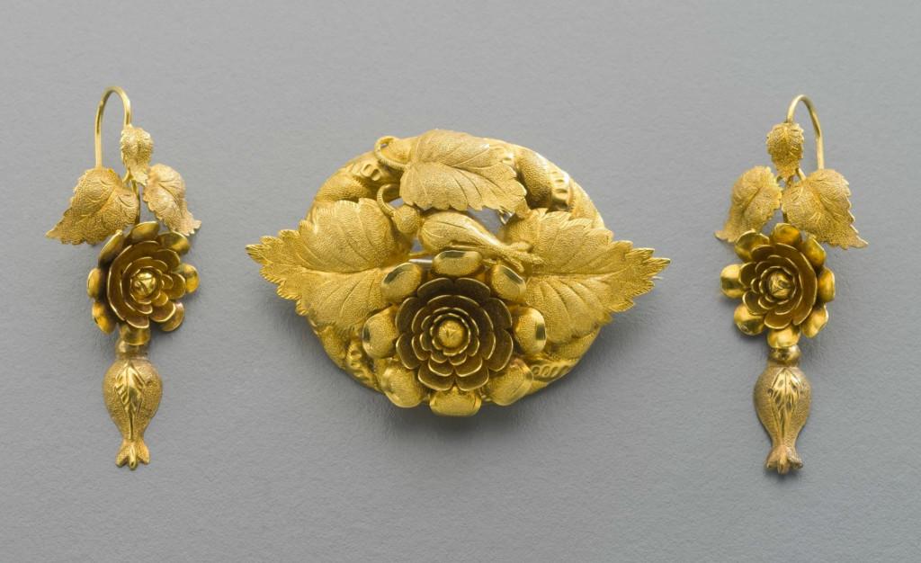 J. Wendt, demi-parure (brooch and earrings), 1860 - 1870