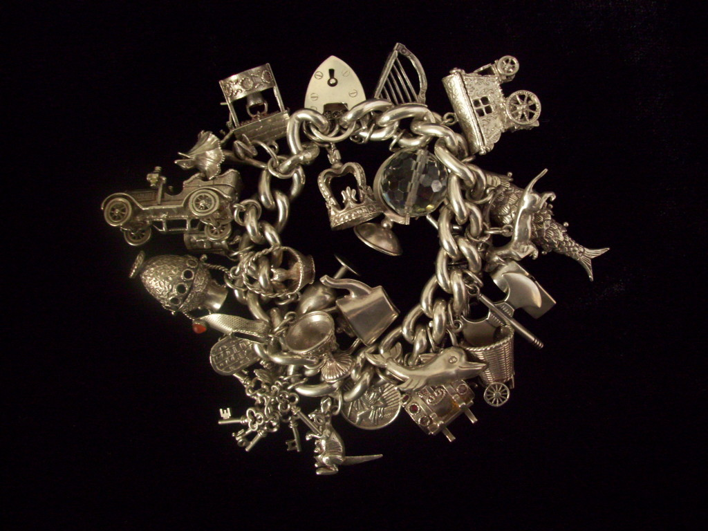 Charm bracelet showing multiple charms