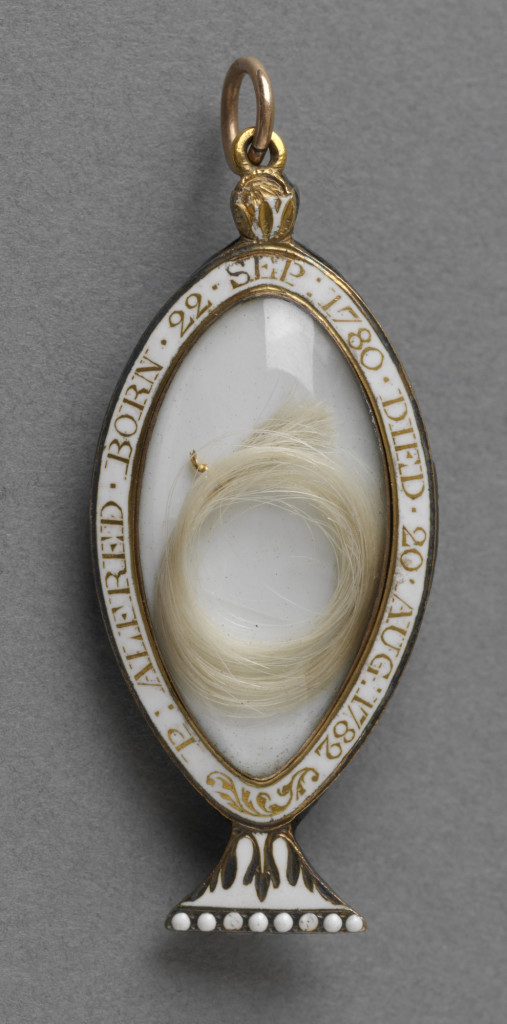 Mourning locket in the form of a funerary urn with seed pearls and amethysts, reverse with lock of hair. Inscribed around edge in gold on white enamel, 'P.ALFRED. BORN 22.SEP 1780 DIED 20 AUG 1782'. Suspension loop.