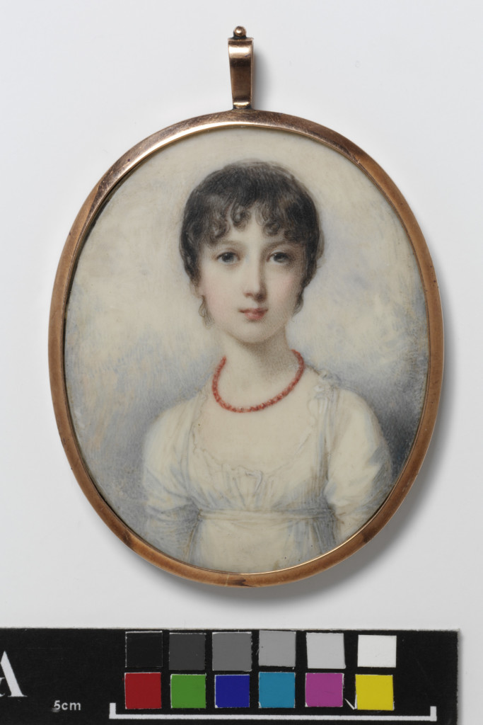 Portrait miniature of Princess Amelia, youngest daughter of George III, dated 1802, watercolour on ivory, painted by Richard Cosway (1742-1821).
