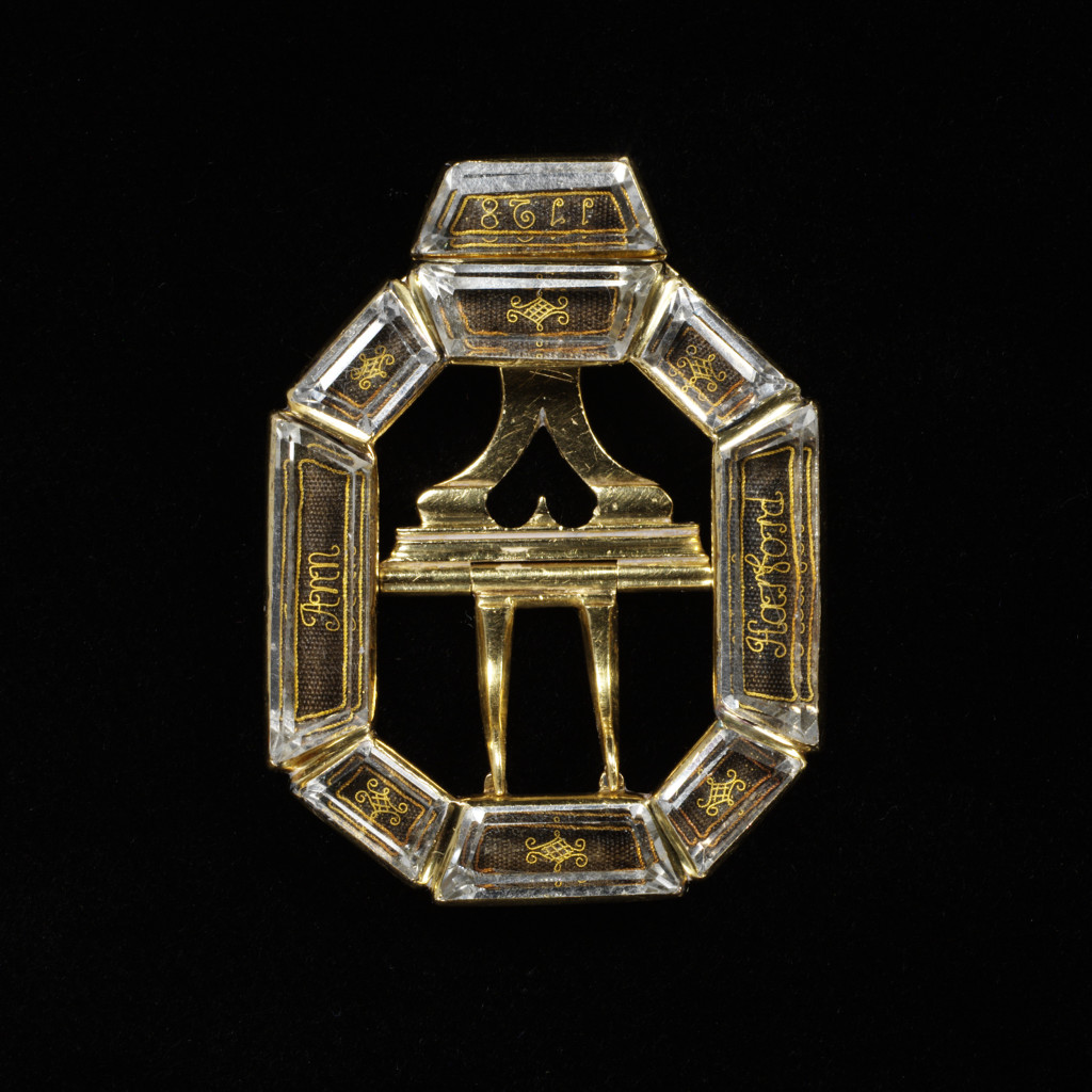 This octagonal buckle was made to commemorate the death of Ann Harwood in 1728.