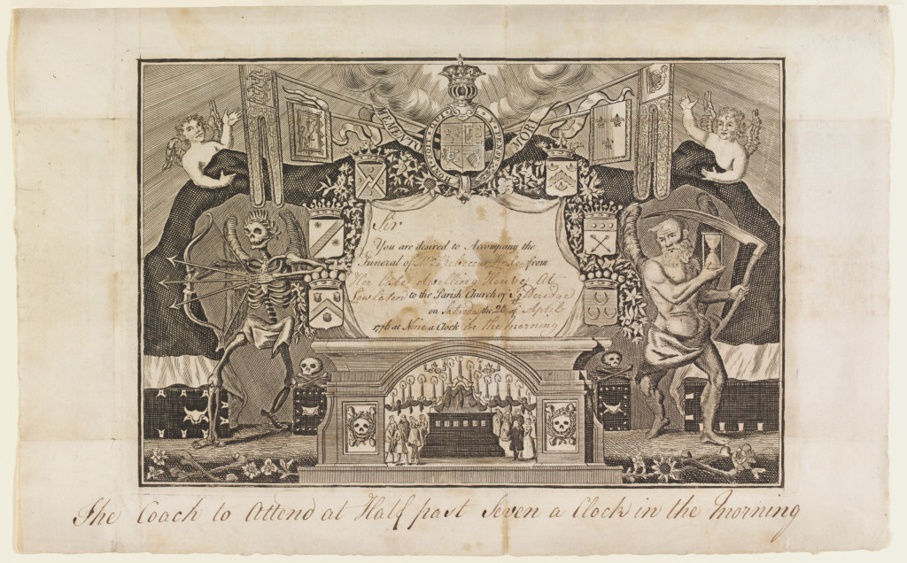 Funeral card with a design incoporating various symbols and memento mori imagery. The card is lettered with the invitation at the centre of the design. On either side stand the figures of a skeleton (Death) drawing a bow and three arrows and an elderly winged man (Time) holding an hour glass. Behind them is a black drape supported by two cherubs. At the bottom of the design is a funeral scene depicting mourners gathered round a tomb. At the head of the design is a coat of arms.