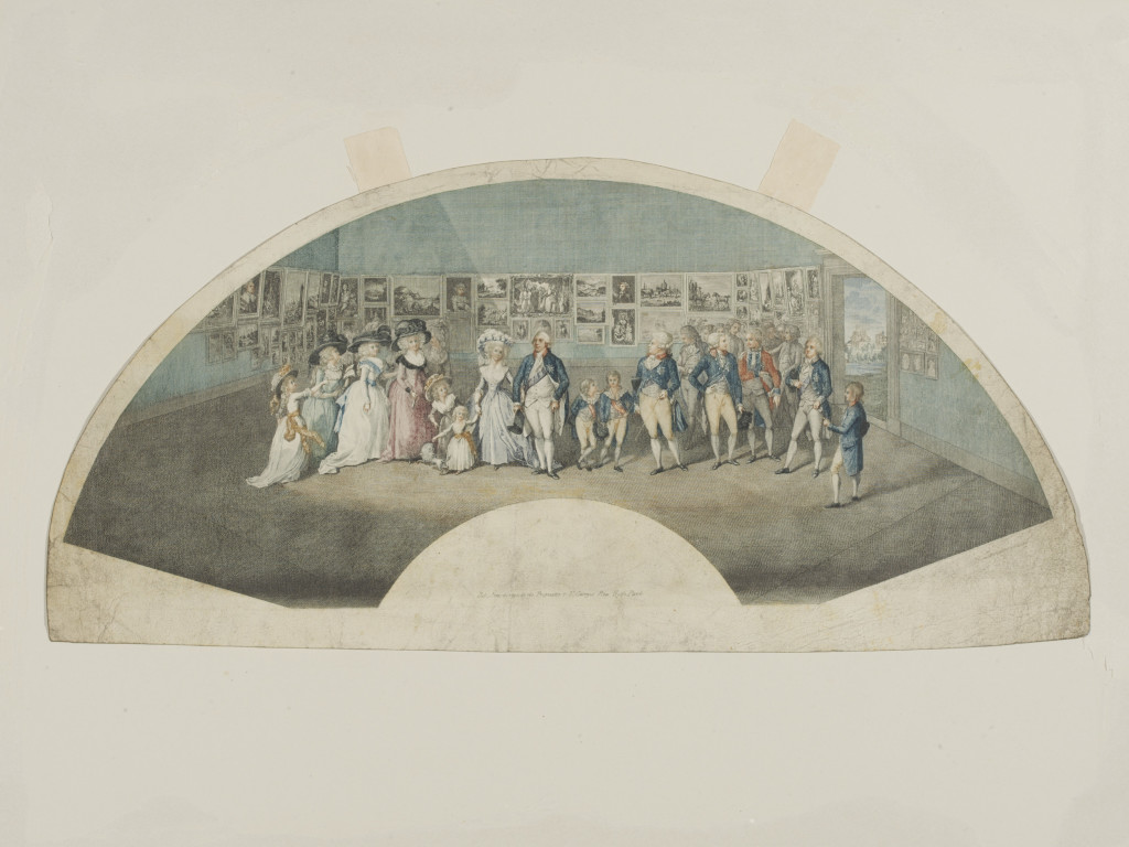 Portraits of their majesties, George III and Queen Charlotte, and the Royal Family visiting the Exhibition of the Royal Academy, 1788. Based on the same painting by Ramberg as Martini's engraving [E.3648-1923].