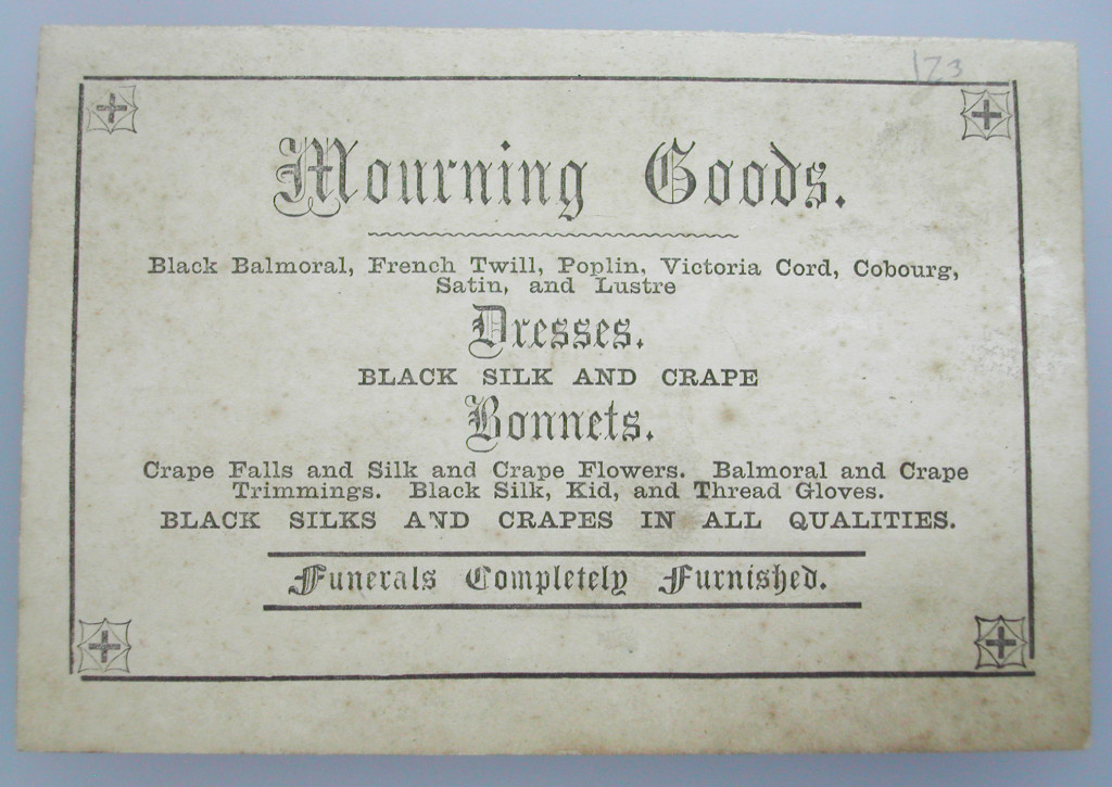 Trade card for mourning warehouse, UK