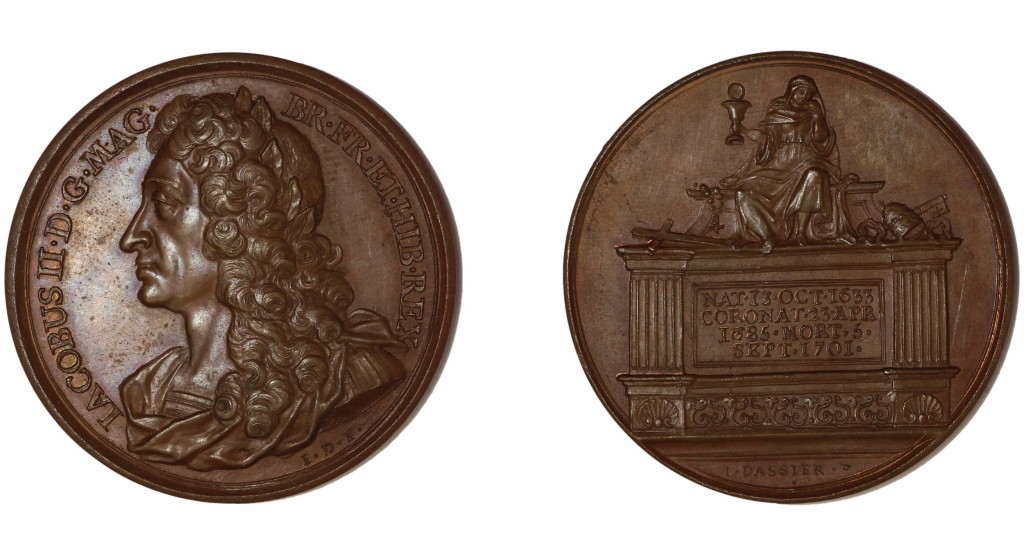 Bronze medal.(obverse) Bust of James II, left, laureate, hair long, in armour and mantle. (reverse) On a square tomb is seated Religion, mourning, amid various ornaments and symbols of Roman Catholicism. The front is an inscription.