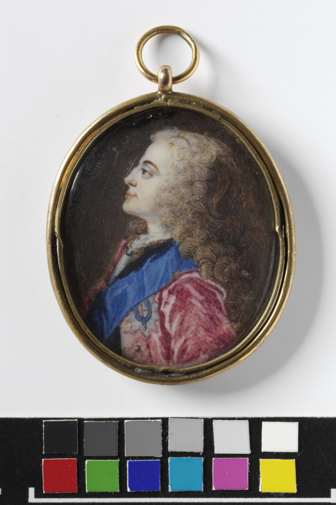 King George II, Oval miniature portrait, head and shoulders, left profile. The sitter is wearing a red coat, blue sash and star of the Order of the Garter.
