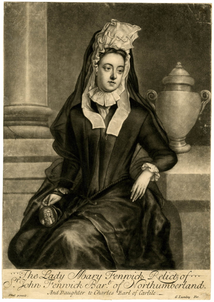 Portrait, three quarter length seated directed to left in mourning dress with a tall frilled white head-dress under a dark veil, holding a miniature of her husband in her lap with right hand, left arm resting on a ledge to right next to an urn, looking down sadly to right; after Dahl; state after painter's name corrected from 'Doll' and 'And Daughter...' added to the inscription, before plate cut. 1737 Mezzotint