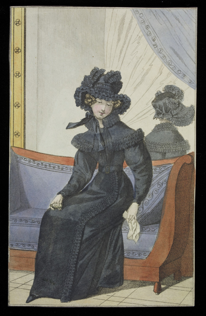 Fashion plate showing women's mourning dress. Hand-coloured etching, 1830s.