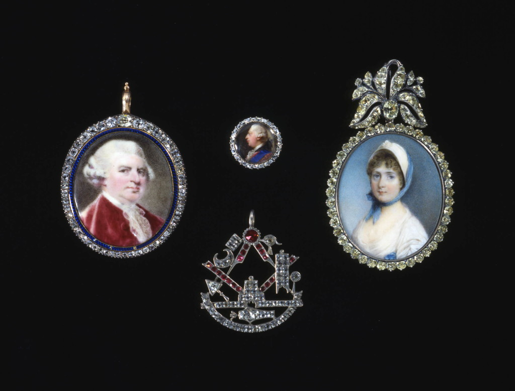 Text from catalogue of the Hull Grundy Gift (Gere et al 1984) no 311: The portrait shows the appearance of the king as a young man, probably at the time of his succession and marriage in 1760. The miniature appears to be a smaller version of the miniature of George 111 set in a bracelet clasp worn by Queen Charlotte in portraits dating from the time of her marriage or shortly after (see Millar 1969, no.1196, painted in 1771). A ring in the Royal Collection at Windsor Castle set with a miniature of Queen Charlotte of about the same date is known to have been set in a finger-ring by Rundell, Bridge & Rundell (see 390) for George 1V in 1827 (see Taylor & Scarisbrick 1978, no. 857; Gere 1981, no. 261). (Charlotte Gere)Text from Ward, Cherry et al, 'The Ring from Antiquity to the Twentieth Century,' London 1981, pl.260.