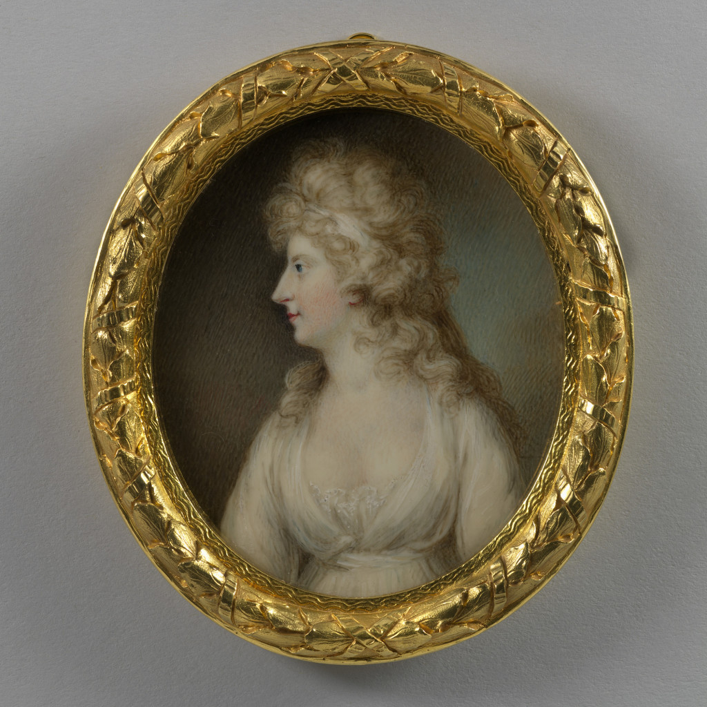 This miniature was painted in the year of Caroline's marriage to the Prince of Wales, later George IV.  Caroline (1768-1821) was the second daughter of Karl II, Duke of Brunswick-Wolfenbüttel, and Princess Augusta, sister of George III. At the age of 14 she was described as 'a lively, pretty child with light-coloured hair hanging in curls on her neck, with rosebud lips … and always simply and modestly dressed'. Her marriage was arranged to George, Prince of Wales. George had secretly, and illegally, married Maria Fitzherbert in 1785 but he was forced to marry legitimately in order to produce an heir to the throne. Their only child was Princess Charlotte Augusta (1796–1817). Three days after his wife's confinement, the Prince wrote a will in which he declared that Mrs Fitzherbert was his only true wife, and that 'to her who is call'd the Princess of Wales' he left one shilling. The inevitable separation took place in 1796. During the Regency, Caroline was excluded from the court and only with difficulty could she obtain permission to see Charlotte. She decided to leave England, and set off on a series of travels around Europe. Evidence of her indiscretions was collected or concocted and her husband asked Parliament to strip Caroline of her title and to end their marriage by Act of Parliament, but the bill was not passed Less than a fortnight after her husband's coronation, the Queen was taken ill at the theatre and, after a short illness, died.