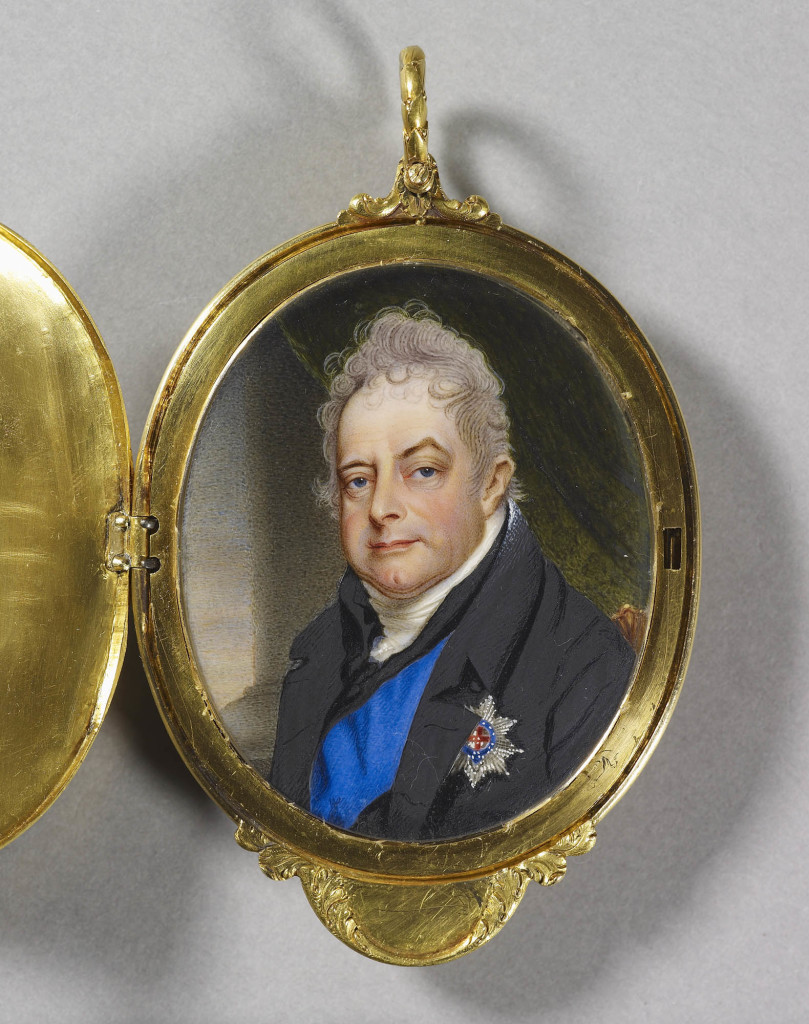 Miniature of William IV when Duke of Clarence, bust-length, wearing a black coat and waistcoat over a white stock with the sash and star of the Order of the Garter mounted in a gold locket, possibly by Rundell, Bridge & Co., with chased and repoussé Garter emblems and with his crowned initials on the lid, the reverse chased with the badge of the Order of the Bath within the collar and the badge of the Order of the Thistle on a matte ground.